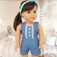 American girl doll denim romper by SewCuteForever on Etsy