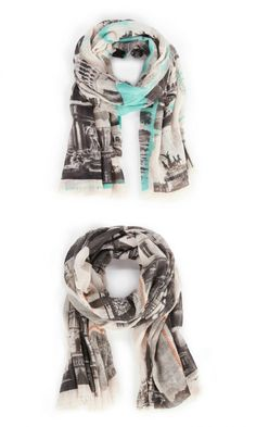 Soft, lightweight, city-print scarves in Italy Mint & Paris Coral