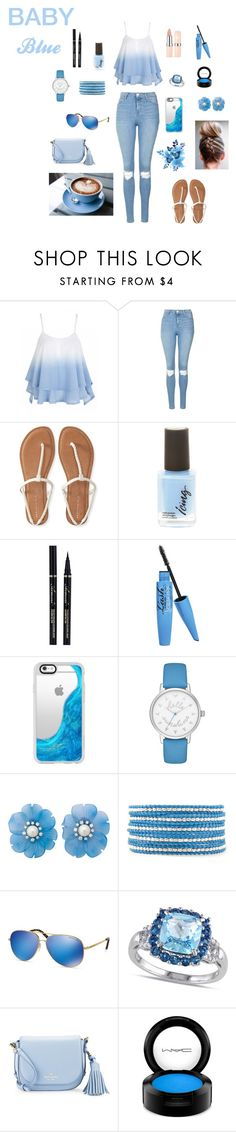 """""""Baby blue"""" by aleeta1011 ❤ liked on Polyvore featuring Topshop, Aéropostale, Barry M, Casetify, Kate Spade, Chan Luu, Michael Kors, Allurez and MAC Cosmetics"""