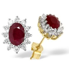 http://rubies.work/0914-sapphire-pendant/ Ruby 6 x 4mm And Diamond 9K Yellow Gold Earrings