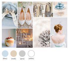 Hochzeits-Moodboard für den Winter mit Eisblau | Friedatheres