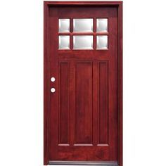 Pacific Entries Craftsman 6 Lite Stained Mahogany Wood Prehung Front Door-M36MR - The Home Depot
