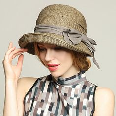 Fashion bow straw sun hat for summer womens beach hats package