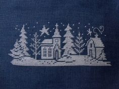 Willow Tree Stitcher- portion of Winter Silhouette by Diane Arthurs Cross Stitch House, Xmas Cross Stitch, Cross Stitch Samplers, Cross Stitching, Cross Stitch Embroidery, Cross Stitch Patterns, Christmas Embroidery, Christmas Knitting, Christmas Cross