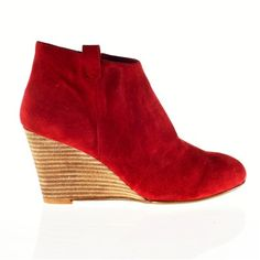 Suede Ankle Boots with cm Heel Camel+Red+Black La redoute Wedge Ankle Boots, Red Black, Camel, Wedges, Heels, Style, Fashion, Heel, Swag