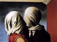 Rene Magritte - The Lovers - a major figure in the Surrealist movement and is considered by many to be the greatest Belgian artist of the century. From 1916 – Magritte studied at the Académie Royale des Beaux-Arts in Brussels under Constant Montald Rene Magritte The Lovers, Magritte Paintings, Artist Magritte, Art Paintings, Watercolor Paintings, Renoir, Museum Of Modern Art, Surreal Art, Oeuvre D'art