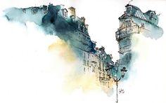 Park Sunga es diseñadora gráfica e ilustradora quien construye con tinta y pincel edificios y pasajes de distintas ciudades alrededor del mundo.
