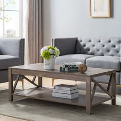 Furniture of America Stamos Rustic Hazelnut Open Coffee Table, Brown Coffee Table Grey, Rustic Coffee Tables, Coffee Table With Storage, Coffee Table Design, Shabby Chic Furniture, Living Room Furniture, Home Furniture, Hans Wegner, Plywood Furniture