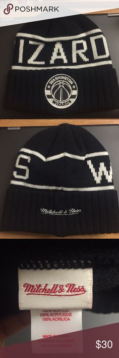 Washington Wizards beanie Mitchell and Ness black and white beanie. Fits all sizes. Bought in store 100% authentic. Mitchell & Ness Accessories Hats
