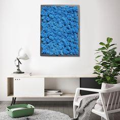 Ganz speziell. Moosbild mit blauem Islandmoos und schwarzem Rahmen. Island Moos, Black Frames