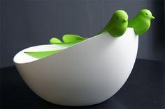 Bird Salad Bowl and Servers Set