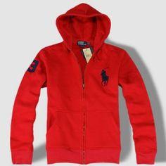 Ralph Lauren Big Pony Full-Zip Fleece Hoodie (Red)