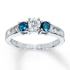My perfect engagement ring! <3 Blue/White Diamonds 3/4 ct tw 3-Stone Ring 10K White Gold