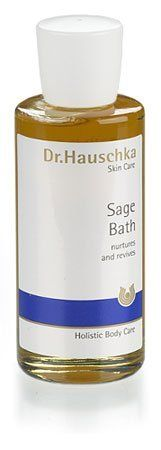 Dr. Hauschka Sage Bath by Dr.Hauschka. $32.00. Deeply cleanse skin, soothe tired feet and nurture the body after physical activity with this stimulating and refreshing bath oil. The purifying formula also helps visibly reduce body acne when diluted with warm water to create cleansing compress. Made with pure sage essential oil, the aromatherapeutic oil rejuvenates and helps heal irritated skin and an over-exerted body. It has a sage scent. Safe Jacuzzi use.
