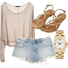 sweater and light denim jean shorts, gold sandals, and gold watch