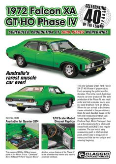 Classic Carlectables promotional poster for model of the sole production Ford Falcon XA GTHO Phase IV Australian Muscle Cars, Aussie Muscle Cars, Best Muscle Cars, Phase Iv, Dog Car Accessories, Derby Cars, Ford Torino, Ford Fairlane, Ford Falcon