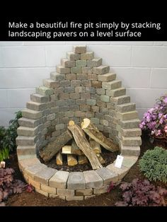 Simple stone fire pit using stone pavers. Relax in your own back yard.: