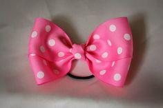 Pink hair bow polka dotted grosgrain ribbon by BindingCreations