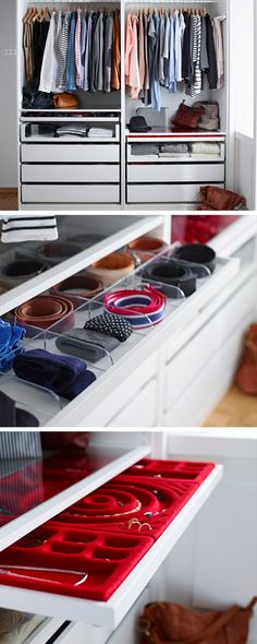 It's often the finishing touches that make an outfit. The same goes when planning a wardrobe – the little things make a difference. Shallow depth drawers with inserts for jewellery, ties and belts will keep all your accessories in order.