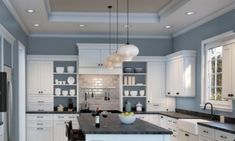 Best Blue Gray Paint Colors Stylish Dusty Blues The Flooring Girl Grey And Blue Interior Design Grey Blue And Brown Living Room Design Paint For Kitchen Walls, Kitchen Paint Colors, Room Paint Colors, Paint Colors For Home, White Kitchen Cabinets, Kitchen With Blue Walls, Blue Gray Kitchens, Kitchens With Color, White Kitchens