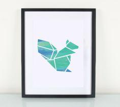Artprint / Origami / Eichhörnchen von EULENSCHNITT auf DaWanda.com