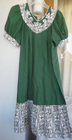 "Hawaiian MuuMuu Dress | XL 1X | Green White ""Lucky You"" Floral Hawaii MuMu #Hawaiian #Hawaiian #Casual"
