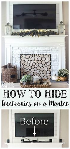 How to Hide Electronics on a Mantel - Find out the trick! - Bless'er House