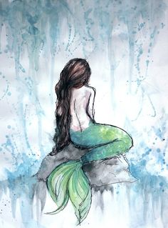 mermaid watercolor painting posters by ivegotartitude redbubble - mermaid painting images Watercolor Mermaid, Watercolor Art Diy, Watercolor Art Paintings, Painting & Drawing, Painting Canvas, Mermaid Artwork, Mermaid Drawings, Art Drawings, Fairy Paintings
