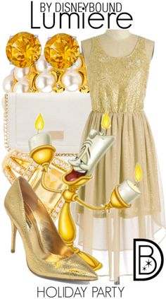Disney Bound: Lumiere from Disney's Beauty and the Beast (Holiday Party Outfit) Disneybound Outfits, Disney Themed Outfits, Disney Dresses, Disney Clothes, Estilo Disney, Cute Disney, Disney Style, Disney List, Disney Inspired Fashion