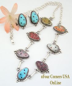 Four Corners USA Online - Multi Color Corn Sterling Silver Necklace Earring Set Native American Zuni Artisan Tracy Bowekaty NAN-1424, $312.00 (http://stores.fourcornersusaonline.com/multi-color-corn-sterling-silver-necklace-earring-set-native-american-zuni-artisan-tracy-bowekaty-nan-1424/)