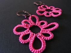 pink earrings, tatting. I have an itch to change this pattern just a little... we will see ~!~