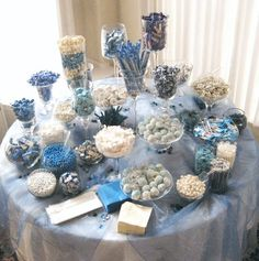 Blue White candy buffet (can be used instead of giving out party favors for parties)