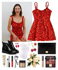 """""""Rosie Red"""" by sophiehackett ❤ liked on Polyvore featuring WithChic, Victoria Beckham, MILK MAKEUP, MAC Cosmetics, NARS Cosmetics, Huda Beauty, Bobbi Brown Cosmetics, Marc Jacobs and Pernille Corydon"""
