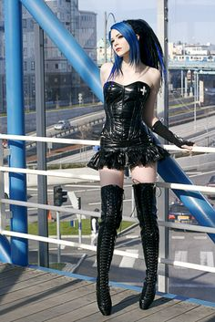 #Fetish-Goth looking lovely in the thigh high boots and latex black nurses bustier and mini skirt.