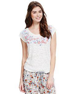 70579b3104 White Mix Flecked Placement Pyjama Top Silk Slip