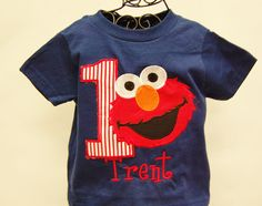 Elmo BOYChildren's Elmo Birthday Shirt on by TutuHairbowBoutique