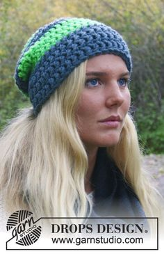 "Crochet DROPS hat with double crochet in ""Peak"". ~ DROPS Design, thanks so xox ☆ ★   https://www.pinterest.com/peacefuldoves/"