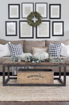 Farmhouse style living room with fall decorating touches. Love the black and white pillows via /little/