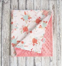 Coral Floral Baby Blanket, White and Coral Baby Blanket, Minky Baby Blanket by ModernBabyDesign on Etsy