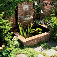 Side Yard - Water features are a favorite of mine.  I love to hear the sound of trickling water.  If I close my eyes, and breathe, just listening to the trickle of the water calms and relaxes me. Maybe a frog even kicks back on the lily pad.  Can you imagine this part of my dream home too? #bhg.com