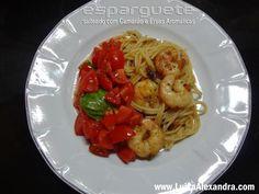 Esparguete Salteado com Miolo de Camarão e Ervas Aromáticas