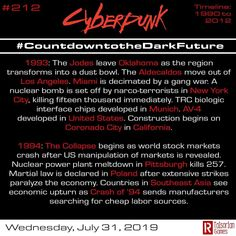 Tomorrow is GenCon! Today is 212 of #countdownofthedarkfuture and we're continuing our trip through Cyberpunk history. #cyberpunkred…