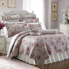 """Lenox® Vintage Floral Quilt   $149.00  Bouquets of beautiful roses bloom on the Vintage Floral quilt, a timeless piece that will transform your bedroom into a soft and inviting escape. Delicate quilted detailing and a unique washing process gives this quilt collector's appeal. Twin quilt measures 70"""" W x 90"""" L. Queen quilt measures 90"""" W x 92"""" L. King quilt measures 108"""" W x 92"""" L. 100% cotton cover with 100% cotton fill. Machine wash. Imported."""
