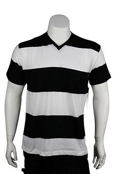 Jordan Craig V Neck Rugby Stripe Tee Black - White