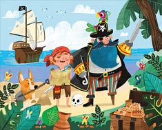 pirate island puzzle by michael robertson Pirate Boats, Pirate Kids, Pirate Art, Pirate Illustration, Children's Book Illustration, Character Illustration, Pirate Island, Pirate Treasure, Cartoon Drawings