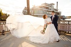 Christy and Mike chose Paddlefish for their wedding reception because they felt it was a unique, cost-effective venue, and they loved its views of Disney Springs!