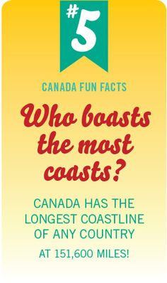 Canada has the longest coastline of any country Canadian Facts, Canadian Things, I Am Canadian, Canadian History, Canadian Humour, Canadian Culture, Fun Facts About Canada, All About Canada, Canada For Kids