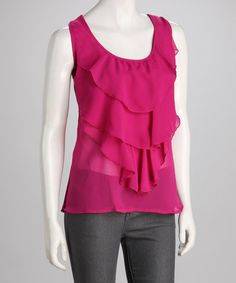 Take a look at this Violet Crochet-Back Chiffon Ruffle Tank by Panitti on #zulily today! $21.99, regular 58.00
