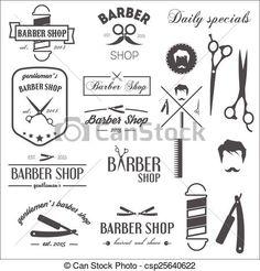 ベクター - コレクション, 型, レトロ, ラベル, logotypes, 要素, 理髪店 - ストックイラスト, ロイヤリティーフリーイラスト, ストッククリップアートアイコン, ロゴ, ラインアート, EPS画像, 画像, グラフィック, ベクター画像, アートワーク, EPSベクターアート