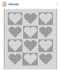 Instagram @fakhazabi - filet crochet heart pattern diagram for a blanket
